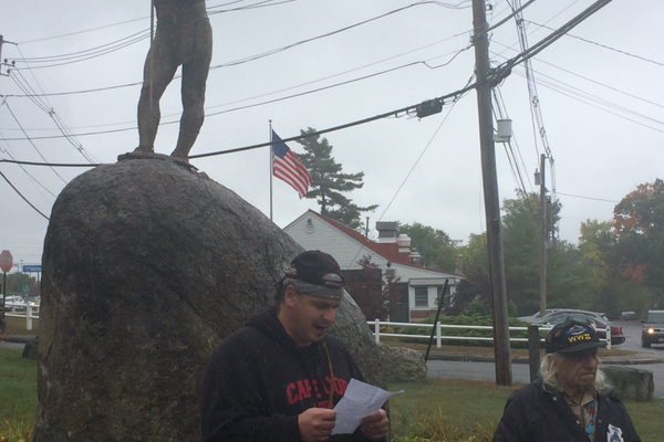 Eddie O'Keefe speaks at the 25th Anniversary ceremony of the Wamesit Indian statue.