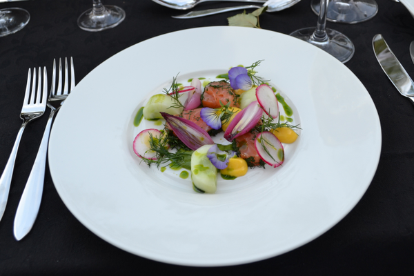 A salad of Norwegian salmon and fresh vegetables