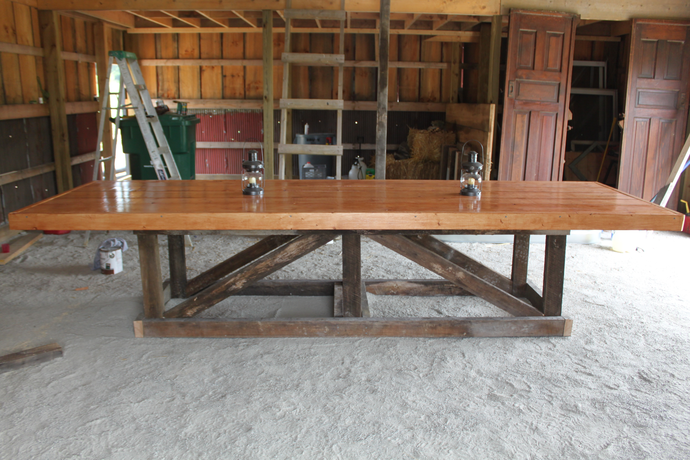 Barn trestle table