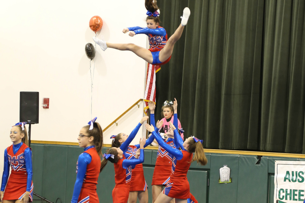 The Tewksbury High JV cheerleaders compete at Austin Prep. Photo courtesy of Kelly Wentworth.