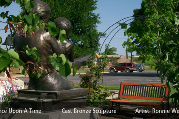 """Once Upon a Time"" Cast bronze scupture by artist Ronnie Wells. Photo courtesy of salado.com."