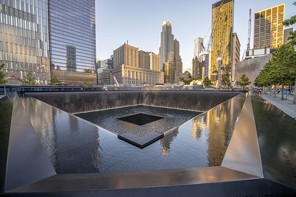 One of two reflecting pools at the memorial