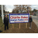 Bob Ohmeyer, Chairman of the Republican Town Committee, shows his support for Charlie Baker on the Town Common. Photo courtesy of Joe Dunn.