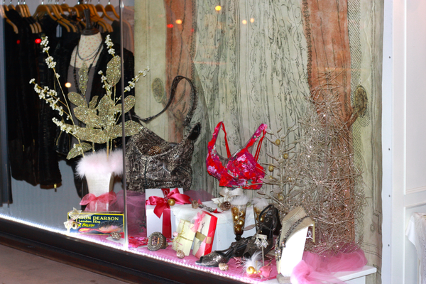 Lu Lu's is back, and in Metlox Plaza, with a window display for the holidays.