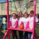 Catapulting for a cause are (L–R) Hannah Cote, Sarah Duncan, Isabelle Pioli,  and Mackenzie Wahl, showing their support for a breast cancer cure.