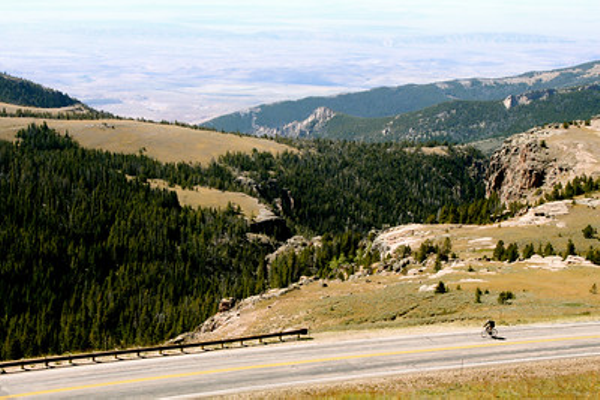 The view from Bighorn National Forest in Wyoming.