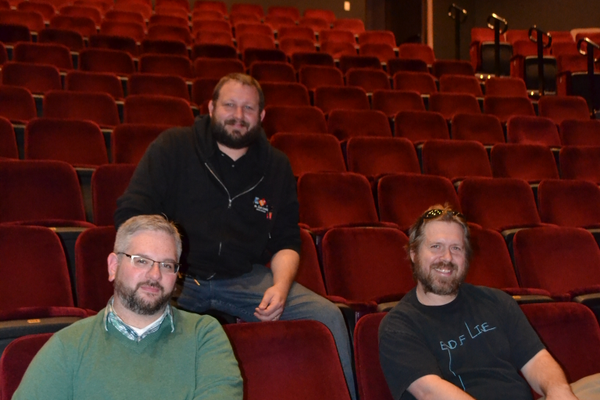 Photo by Richard L. Gaw Andrew John Mitchell, left, Lee Lewis, center, and Bob Denton, right, of the Milburn Stone Theatre.
