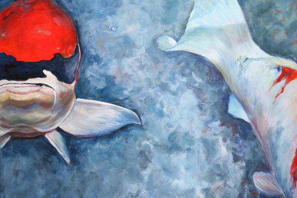 Examples of Hersh's Koi art, which will be showcased at the Mala Galleria in Kennett Square from May 1 to June 3.
