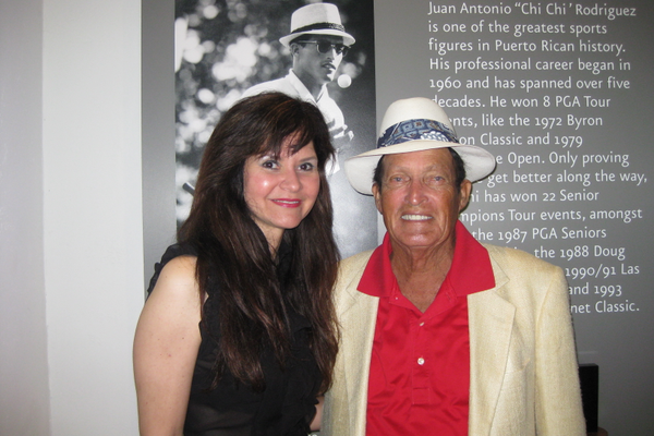 Courtesy photo Paolicelli with golfing legend Chi Chi Rodriguez, who created his own publishing imprint for her first book, 'There's a Coqui In My Shoe!'