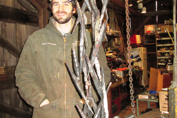 Matt Harris operates the Harris Metalsmith Studio in a converted shed at Principio.