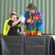 Carter Forbes performs an experiment during the Sciencetellers presentation at the North Street School.