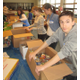 Student volunteers sorted donated food at Unionville High School.