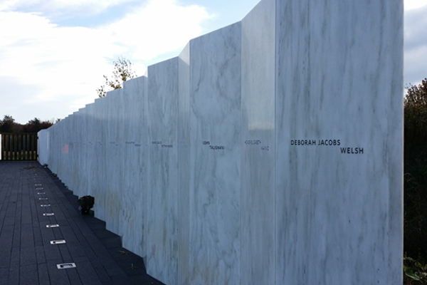 The 40 names of the crew and passengers who died on Flight 93 are memorialized on the wall at the memorial.