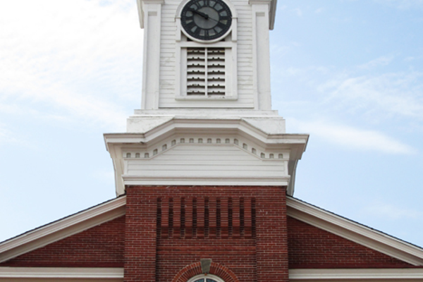 Slight changes have been made to the steeple, but the brickwork is still a distinctive touch.