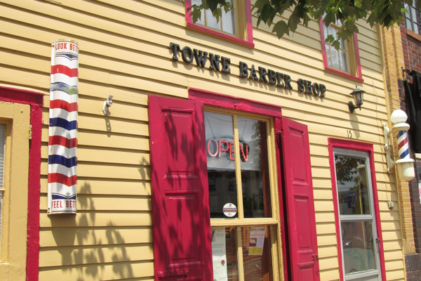 The Towne Barber Shop, in one of the historic storefronts downtown.
