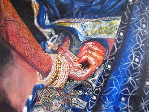 A painting of a henna tattoo and elaborate dress by Navanjali Kelsey