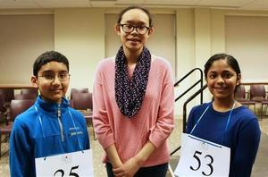Chester County Spelling Bee Champion Aakash Narayan from Great Valley Middle School with second place winner Laura Liu and third place winner Akhila Yalvigi