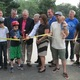 Officials and skaters cut the ribbon for the Handloff Park skate spot in September.