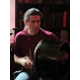 Dave Zgleszewski plays the traditional percussion instrument called a bodhran.
