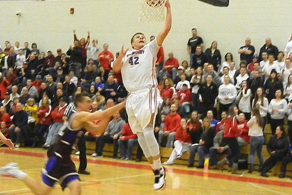 Justin Derrah (42) was a force in the paint for the Redmen.
