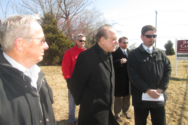 State Sen. Andy Dinniman (center) met with PennDOT representatives and Penn Township officials to see the Red Rose Inn property on March 23.