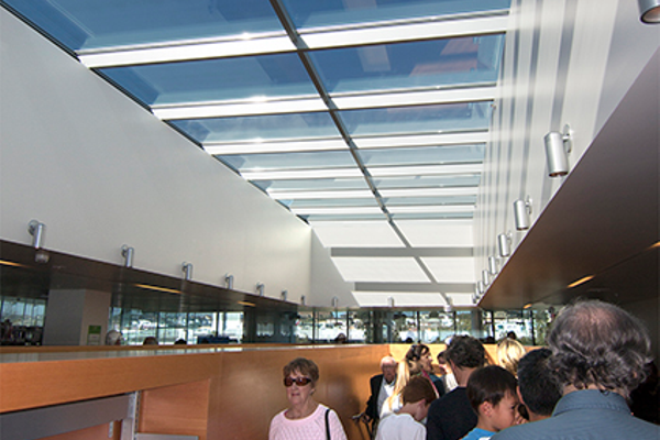 Another view inside the new library. Note the skylights overhead. Photo by Brad Jacobson.