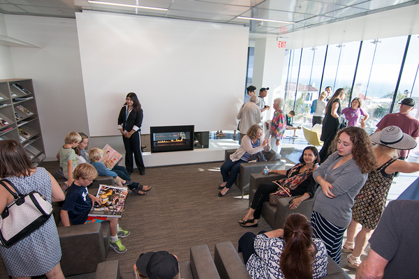 The new library includes a fireplace. Photo by Brad Jacobson.