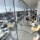 Kids and adults gathered on the library's second floor to check out the view over Highland Avenue to the ocean. Photo by Brad Jacobson.