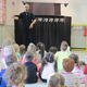 Students at Green Meadows learn how puppets work from John McDonough of Pumpernickel Puppets. McDonough performed Sir George and the Dragon along with introducing the children to many types of puppets.