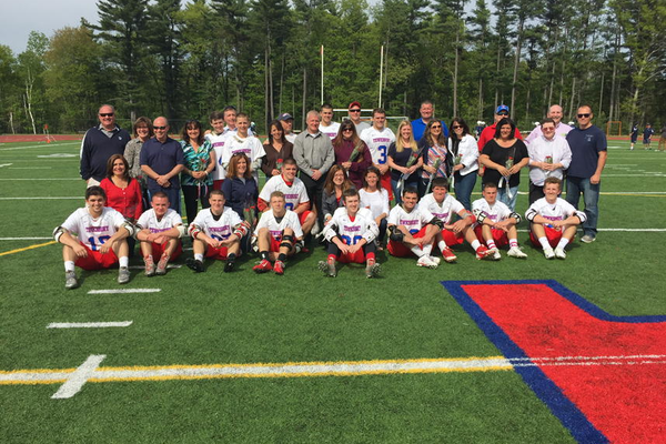 Tewksbury High senior lacrosse players and their family members on Senior Day.