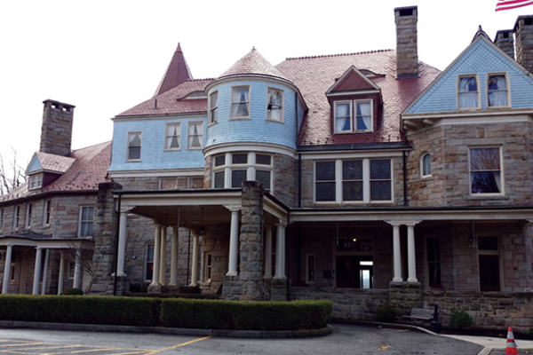 The Graceland Mansion, once a frat house, now serves as an inn.