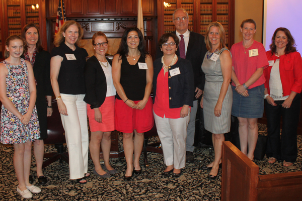 Members of Decoding Dyslexia Massachusetts visited the State House Thursday to advocate for a science-based definition of dyslexia.  (l-r)Kate Lovett, Kirsten Lovett, North Andover; Jodie Vasily-Cioffi, Reading; Dr. Elizabeth Norton, Cambridge; Nicole Mitsakis, Middleton; Nancy Duggan, Acton; Dr. Charles Haynes, Boxford; Rosemarie Tagliamonte, Wellesley; Lisa Nelson Grafton; and Jessica Nagle Topsfield.