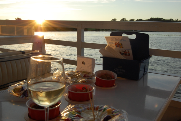 Food options aboard the Bay Breeze range from local favorites like hard shell blue crabs or shrimp to more casual options like cheese trays and veggie trays. It's hard to beat wine with snacks and a sunset.
