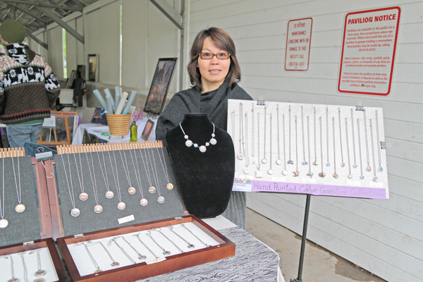 Connie Fong and her handmade jewelry.