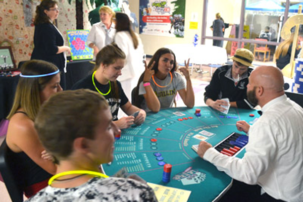 In the casino (L-R) John Howard, Sadie Quattrocchi, Lindsey Jensen, Zoë Haley, Connor Hickey are gambling gurus