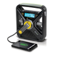 The larger FRX3 features a clock and automatic weather alert in addition to a solar-powered and hand-crank flashlight.