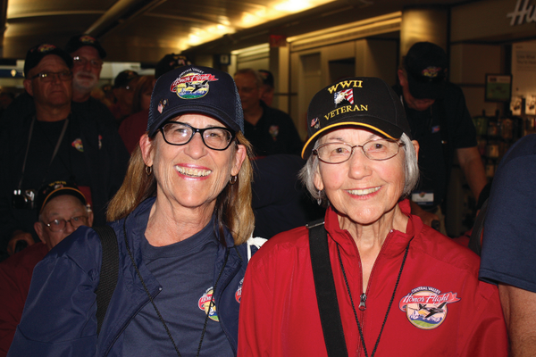 Marge Harpe and her mother, Evelyn, 90, of Madera were the only mother and daughter participants aboard Honor Flight #6. Photo by Bud Elliott.