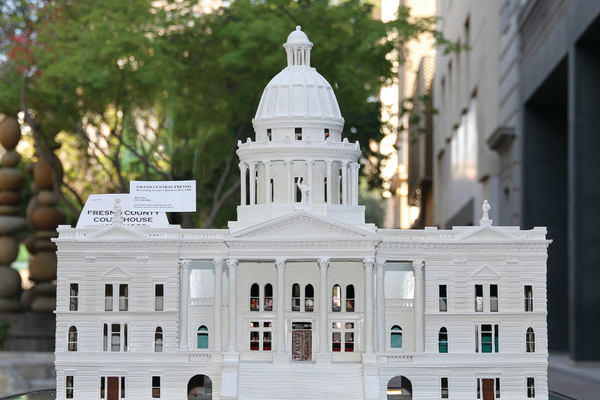 The old Fresno County Courthouse was demolished in 1966 but survives as a prominent feature in Rupe's cardboard city.
