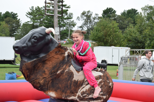 "This young ""bull rider"" had a great time at the 2nd Annual Tewksbury Fall Harvest Fair."