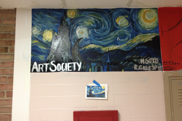 This mural that Gillespie helped work on at Avon Grove High School was part of the work with the school's Art Society.
