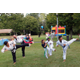 Northeastern Tae Kwon Do Academy students demonstrate sidekicks.