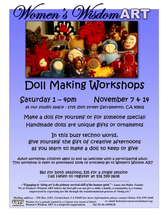 Women's Wisdom Art's Doll Making Workshops - November 7 & 14