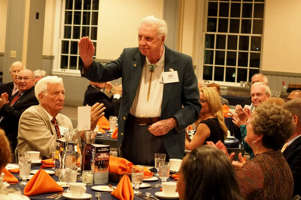 Joe Dublin '40, Bucknell's oldest living men's basketball alum, is introduced. Photo courtesy Joel Turrell.