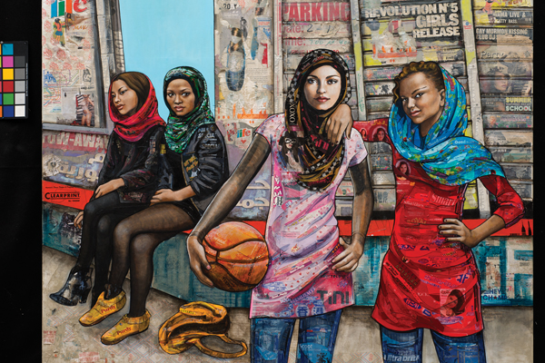 "American Schoolgirls III, mixed media collage & acrylic paint 60"" by 72"""