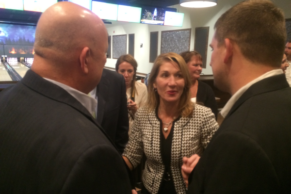 Don MacLaren talks to Lt. Gov. Karyn Polito.