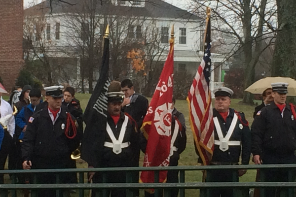 Color Guards at 2015 Veterans Day Ceremony on the Town Common.