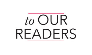 To Our Readers - January  February 2016 - Jan 27 2016 0409PM