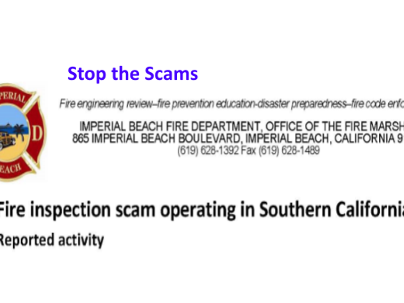 IB FIRE warns Businessmen of Scam going around San Diego Area at IB