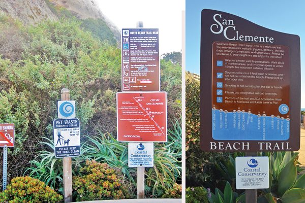 Before: Five sharp metal signs greeted walkers on the trail. After: Two safer, tamper-proof displays.