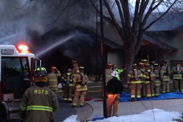 Fire on the 8900 block of Sycamore Lane in Maple Grove March 2, 2016. (Photo by Doug Erlien)